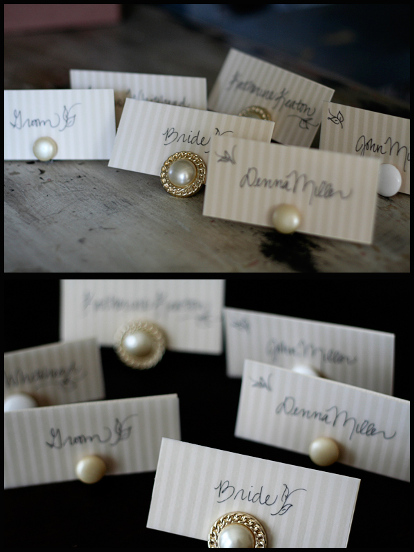 diy clip on earring place card holders